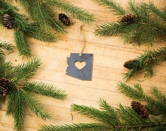 Love Arizona Christmas Ornament State Rustic Metal Ornament Recycled Steel Holiday Gift  Industrial Decor Wedding Favor Iron Maid