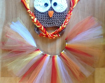 Baby Girl Thanksgiving Outfit. Crochet Turkey Hat. Thanksgiving Tutu
