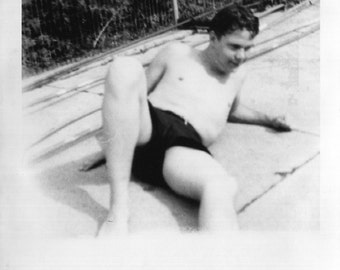 Vintage Photo..Guy by the Pool 1948, Original Photo, Old Photo Snapshot, Vernacular Photography, American Social History Photo