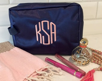 Monogrammed Makeup Bag | Cosmetic Bag | Nylon Makeup Bag | Travel Bag | Gifts for Her | Monogram Gifts | Personalized Gifts | Navy Gift