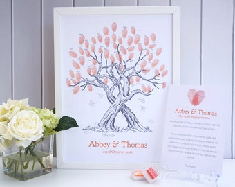 Autumn / Fall Custom Wedding Fingerprint Tree - with leaves