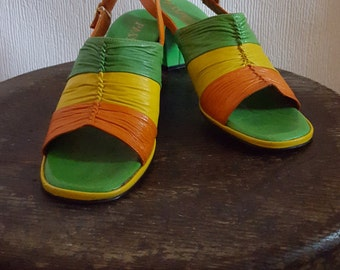 Bella promenade shoes | orange, yellow and green sling backs | 1970s sandals | vintage heels