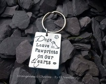 Hand Stamped 'Dogs Leave Pawprints On Our Heart' Aluminium Keyring, Keychain, Animal Lovers, Pets, Dog Owners, Dog Lovers, Pawprints, Unique