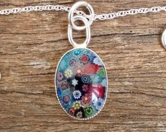 Millefiori Glass Sterling Silver Necklace