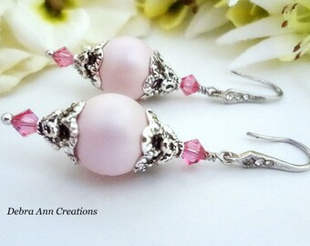 Pink Pearl Earring Pink Bridesmaid Earring Rose Crystal Pink Wedding Pink Bridal Jewelry Pink&Silver Earring Bridesmaid Jewelry Gift For Her