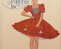Authentic Patterns #322. Ladies' Square Dance Dress. Sizes 6-8-10. Vintage. One piece dress. This pattern is uncut and factory folded.