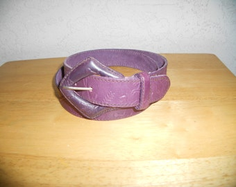 Vintage 80s Carlos Falchi Purple Embossed Hieroglyphics Leathee Belt S M L