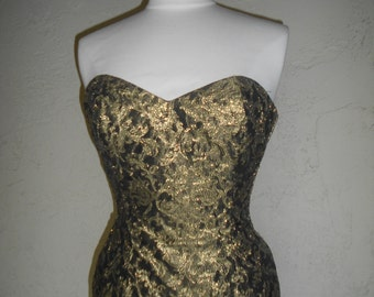Vintage 80s Gold Brocade Strapless Mini Dress