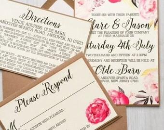 Rustic pink and grey peony wedding invitation