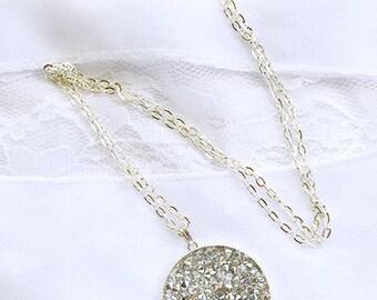 Crystal Rock Swarovski necklace, Swarovski Crystal necklace, Round Swarovski pendant, Swarovski Crystal Rock Pendant, Crystal Rock Pendant