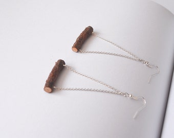 Pine wood earrings Natural. Handmade. Silver tone Chain and findings. Eco friendly. Perfect gift for Nature lovers Made in Latvia