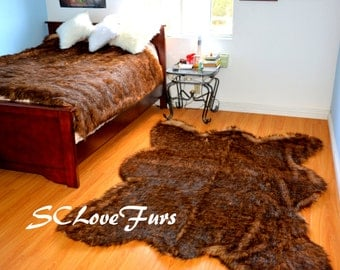 Grizzly Fur Rugs Bearskin Brown Faux Fur Plush Exotic Fake Taxidermy Area Rug Lodge Cabin