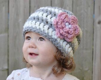 Toddler Girl Hat, Newborn Girl Hat, Grey, Cream, Flower, Pearls, Crochet, Baby Girl, Baby Shower Gift, Newborn Photo Prop, Chunky