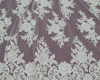 Ivory Lace fabric by the yard, French Lace, Alencon Lace, Bridal lace, Wedding Lace, Garter lace Pearl lace Sequin Lace Beaded lace EVS022CB