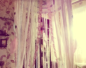 King Size Bed Canopy - Laces Bed Crown Tent - Bohemian Bedroom Decor - Gypsy Boho Bedding -  Wedding Gift - Hippie Nursery - Crib Canopy