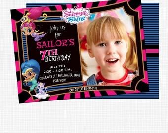 Shimmer and Shine Birthday,Shimmer and Shine Invitation,Shimmer & Shine,Photo Birthday Party Invitation,Shimmer and Shine Banner,Printable