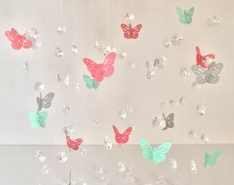Baby Mobile, Baby girl mobile, Nursery Mobile, Baby Shower Gift, Nursery Mobile, Flower Mobile, Butterfly mobile, crystal mobile