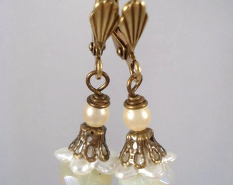 White Bead Earrings Downton Abbey Inspired Antique Bronze Jewelry Gift For Her