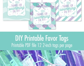 Mermaid Party Favor Tags - Printable Mermaid Party Decorations Thank You Favor Tags Labels - Under the Sea Mermaid Birthday Party Supplies