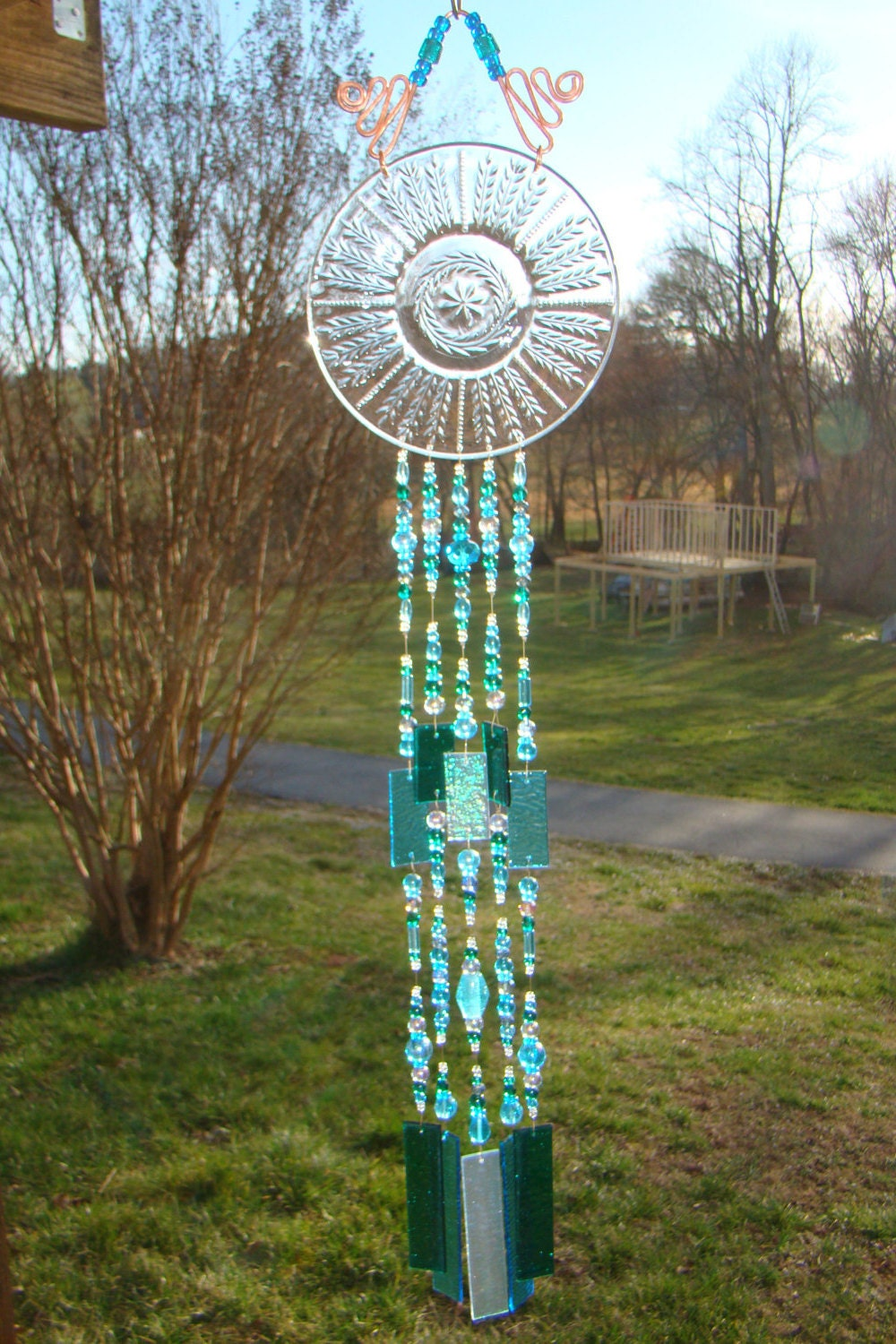 unique wind chime beaded wind chime stained glass wind. Black Bedroom Furniture Sets. Home Design Ideas