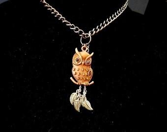 Owl jewelry Bird necklace Wise owl pendant Woodland bird Copper owl Night owl necklace Upcycled leaf charms Owl