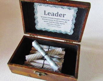 Boss Birthday Gift, Leadership Gift Boss Day Gift Leadership Quotes in Wood Chest Motivational Gift Boss Day Gift Idea Boss Christmas