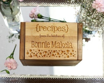 Personalized Recipe Box, Custom Recipe Box, Engraved Wood Recipe Box, --6804