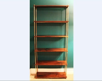 Industrial solid walnut wood and copper pipe bookcase steampunk restoration hardware
