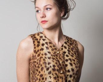 Leopard Vest/ Faux Fur Animal Print Vest/ Flintstones Themed Vest • Size Small •
