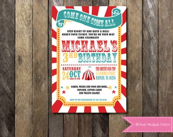 Circus Birthday Invitation, Carnival Birthday Party, Big Top, Tickets, Circus Birthday Party, Girls Boys Birthday Party, Circus, Sunburst
