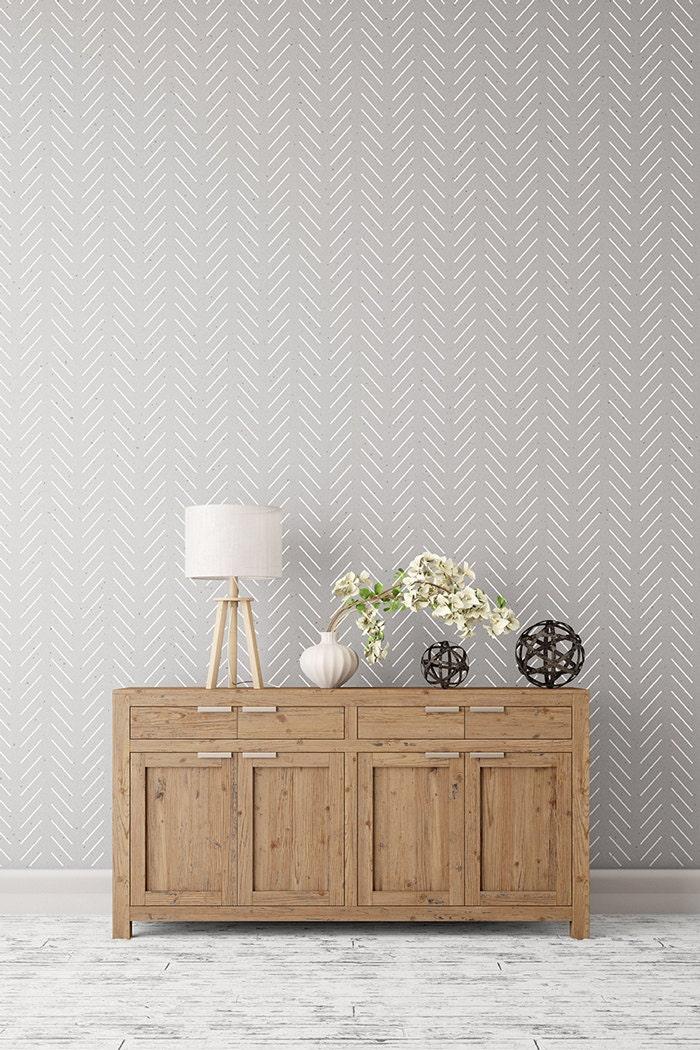 Herringbone simple large decorative scandinavian by stencilit - Wall designs simple ...