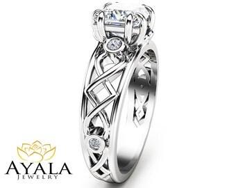 Princess Cut Diamond Ring in 14K White Gold Diamond Engagement Ring Unique Princess Cut Ring Custom Ring