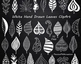 White Hand Drawn Doodle Leaves Clipart, leaves silhouette, PNG, Chalkboard, Digital clipart, Foliage Clip art, Personal and Commercial Use
