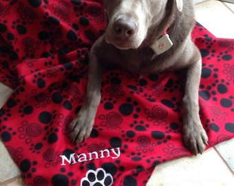Pet Blanket, Polar Fleece, Embroidered, Personalized