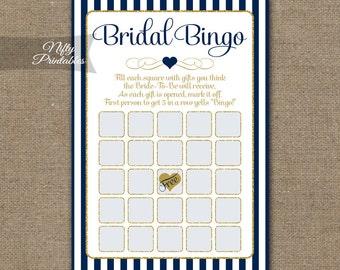 Bridal Shower Bingo Game - Navy Blue & Gold Bridal Shower Game - Instant Download - Bride To Be Printable Blue Bridal Bingo Cards - NGG