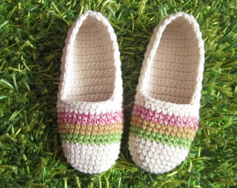 natural white crochet slippers with strips, woman house slippers, crochet shoes, christmas gift, friend gift // S61
