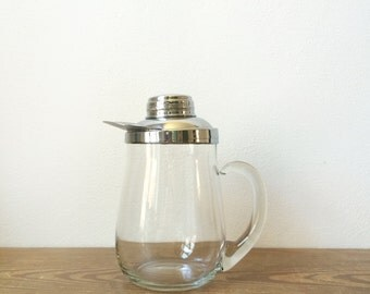 Vintage Pitcher - Glass Water or Juice Pitcher with Metal Lid