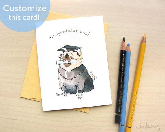 Graduate Pug Card Graduation Gift Card Funny Graduation – Funny Graduation Invitation