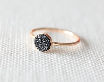 Black Druzy Ring | Druzy Stone Ring | Black Sparkly Gold Ring [Eclipse Ring]