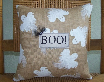 Boo pillow, Halloween pillow, Fall pillow, burlap pillow, Ghost pillow, Halloween decor, Fall decor, bat pillow, free shipping!