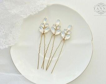 Opal Crystal Hair Pins, Gold Bridal Hair Pins, Hair Accessories, Rhinestone Hair Piece, Wedding Hair Pins, Crystal Headpiece, Gold Hair Pins