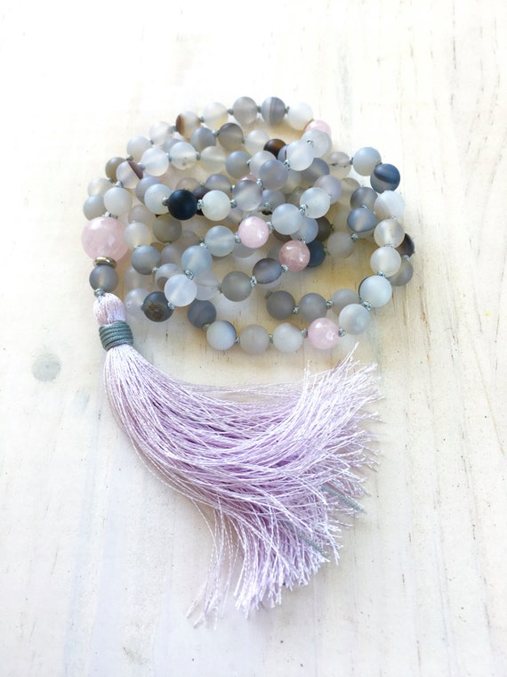 Dream Shadow Agate Mala Beads, Rose Quartz Mala For Inner Peace, 108 Bead Mala Necklace, Hand Knotted Silk Tassel Mala, Yoga Meditation Mala
