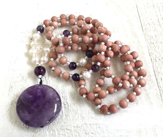 Amethyst Mala Beads, Rosewood Mala Necklace, Chakra Jewelry, 108 Mala Beads, Wood Bohemian Necklace, Yoga Necklace,  Purple Gypsy Necklace