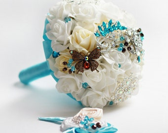 Turquoise brooch bouquet Ivory Wedding bridal bouquet Butterfly bouquet Turquoise teal wedding Bridal flowers Roses bouquet Maid of honor