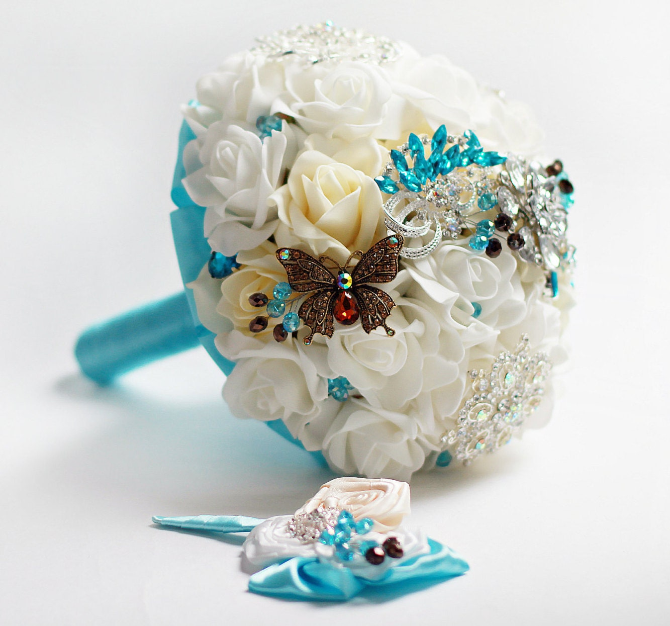 Turquoise brooch bouquet ivory wedding bridal bouquet zoom dhlflorist Gallery