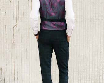 Men's slim vest waistcoat in tartan wool blend