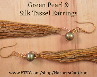 Hand-crafted Silk Tassel & Green Pearl Earrings, on Hand-made Brass Fish-hook Earwires