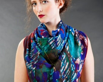 ON SALE! Blue warm scarf, winter designer scarf, chiffon and wool scarf, hand painted scarf, wearable art scarf ,square scarf,gift for women