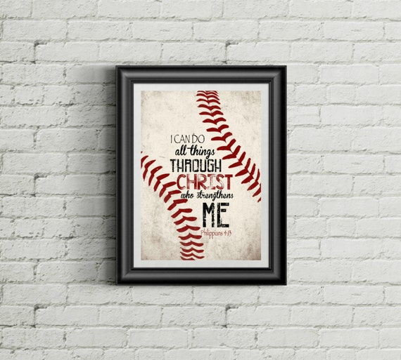 Philippians 4 13 Christian Baseball Boys Room Nursery Christ