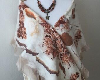 Wool Felted  Sand-coloured  Merino wool Handmade Silk Gift Woman Scarf Wet Felting  Women's Accessories 100% natural Wool scarf Nuno felting